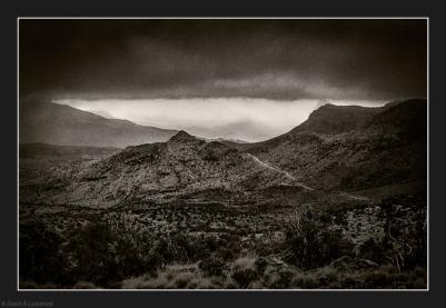 Jebel Misht lost in clouds.